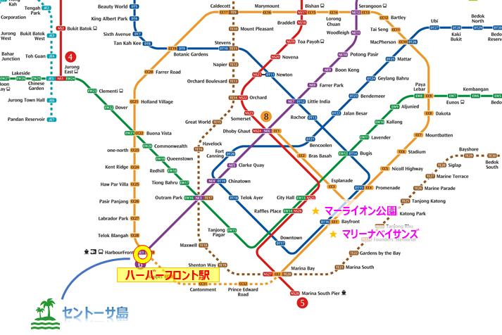 MRTの路線図とハーバーフロント駅の場所