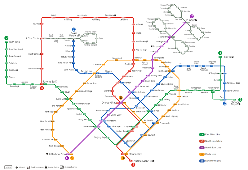 sigapore mrt train system map