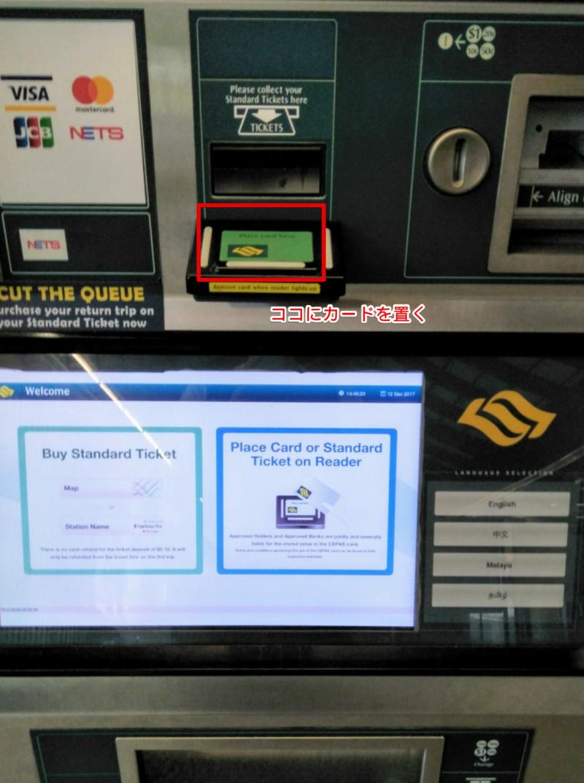 シンガポールMRT電車のチケットの買い方の説明