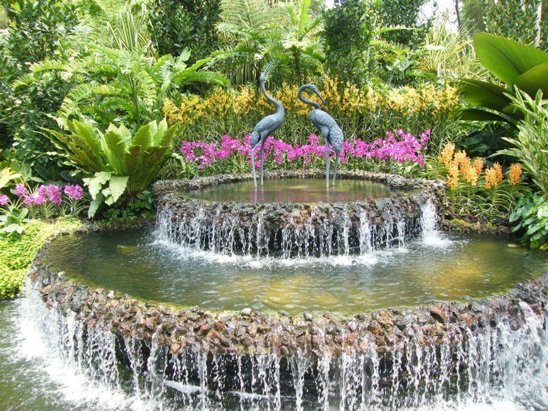 シンガポールの観光スポット 世界遺産ボタニックガーデンの噴水