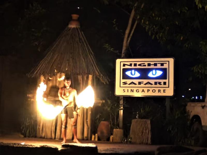 シンガポールの観光スポット ナイトサファリのファイヤーショー
