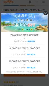ボヤジンのチケットをスマホで買う手順 その4 クーポンコードのポップアップ画面