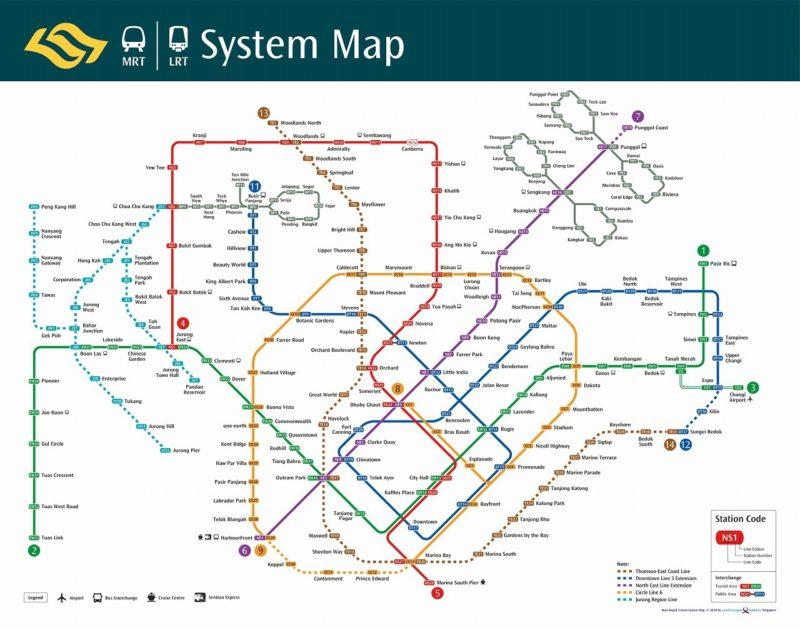 シンガポールMRT電車の路線図