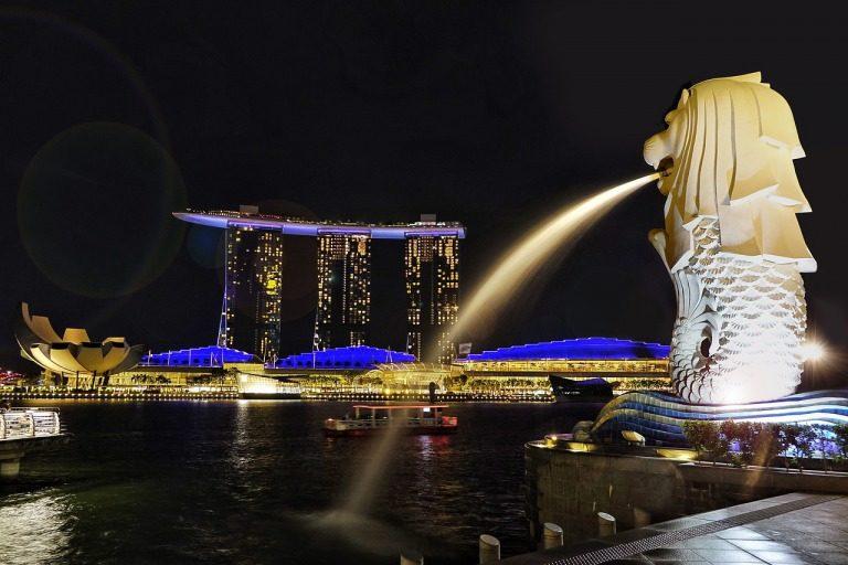 シンガポールの観光スポット マーライオンパークの夜景