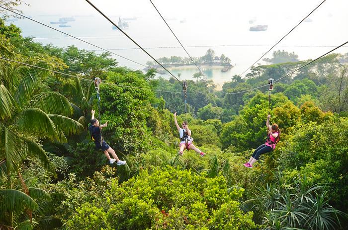 シンガポールの観光スポット シンガポールセントーサ島のジップラインで一気に下る