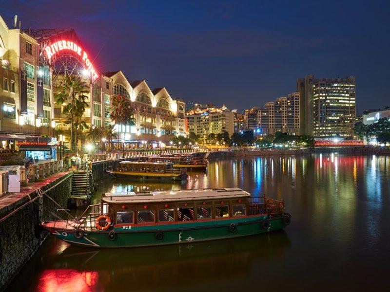 シンガポールの観光スポット クラークキーのリバークルーズ乗り場