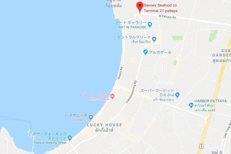 ターミナル21パタヤ場所地図