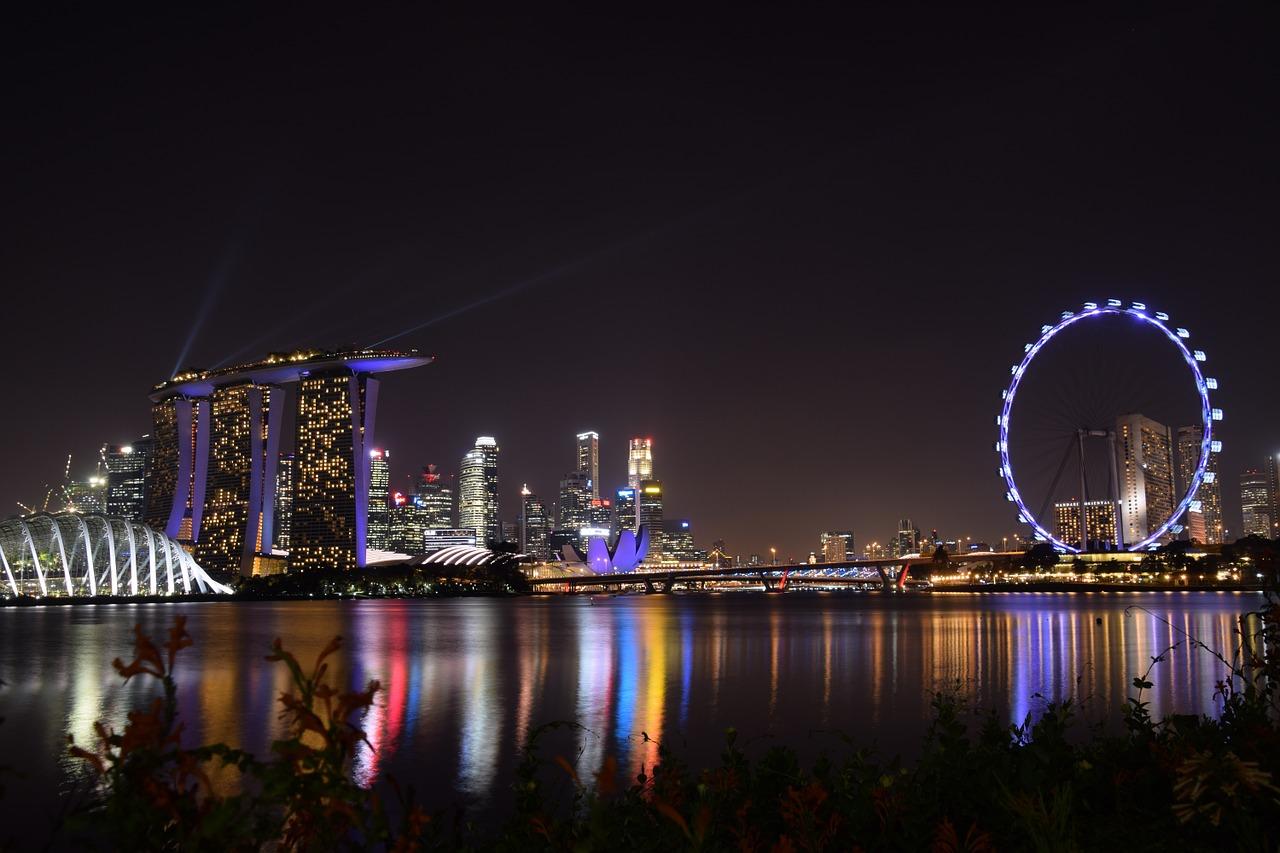 シンガポールフライヤーとマリーナベイサンズの夜景