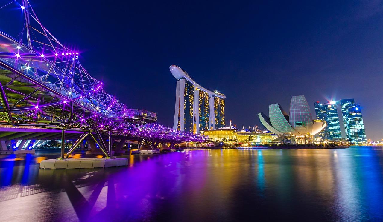 シンガポールマリーナベイサンズの夜景