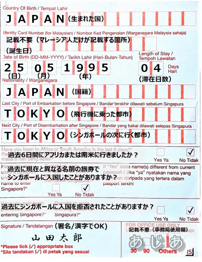 入国カードの記載例(真ん中)