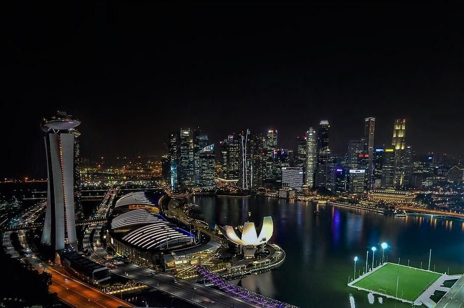 シンガポールフライヤーから見るマリーナベイの夜景