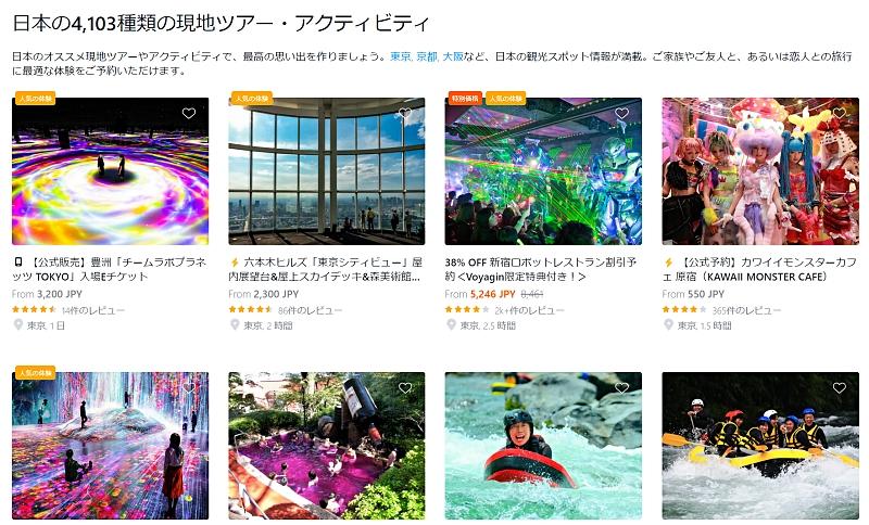 日本の現地ツアー・アクティビティ