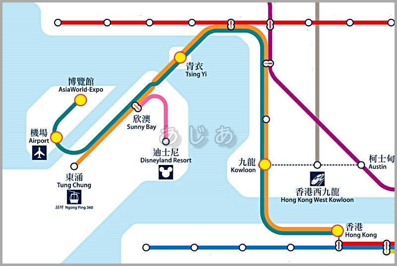 hong kong airport express train map